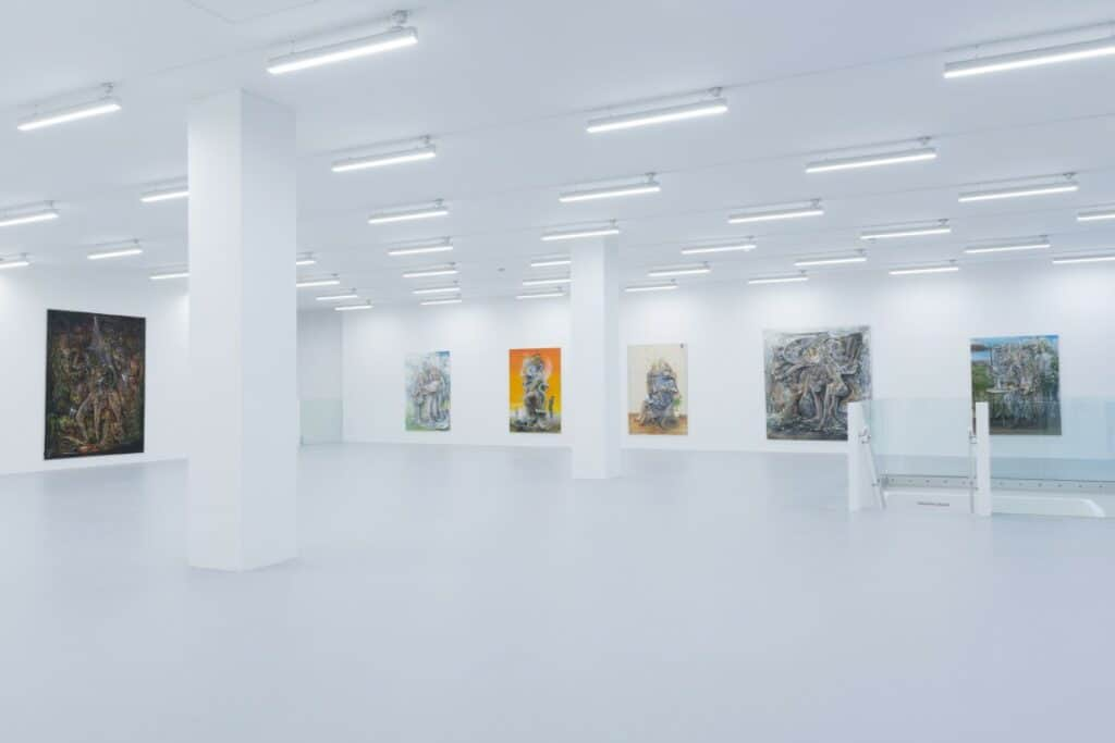 Paintings by Pascal Sender displayed at the newly-opened Saatchi Yates gallery on Cork Street, London. Courtesy of Saatchi Yates