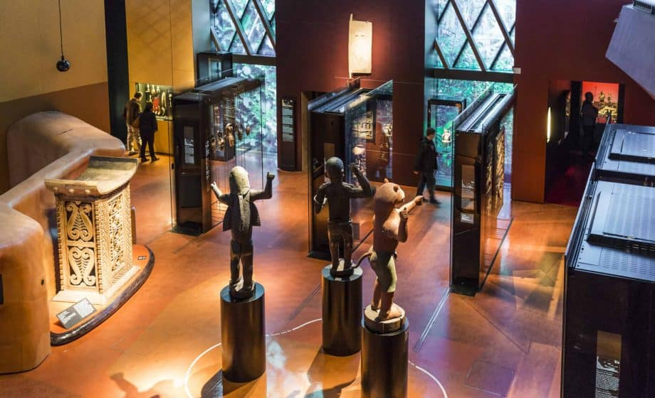 Interior of the Musée du quai Branly in Paris, where art restitution is made possible.