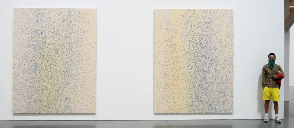 Lucien Smith, Installation view of the exhibition Southampton Suite at the Parrish Art Museum, Water Mill, NY. 10 works, LSMI – 1–10, (Blue & Yellow). Acrylic and unprimed canvas, 108 x 84 inches. Photo: Gary Mamay via i-D Vice
