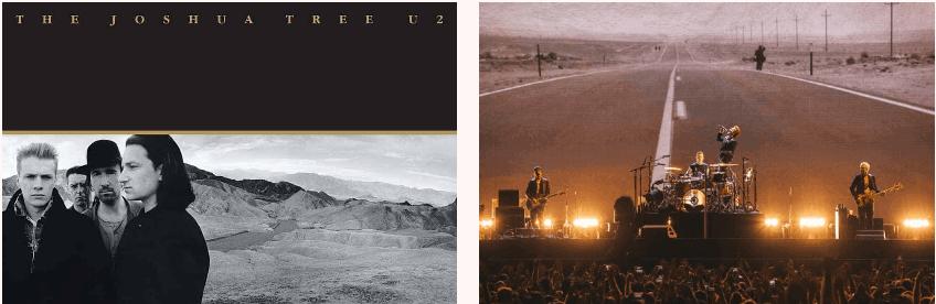 U2 The Joshua Tree album cover, 1987, and global tour set design, 2017.