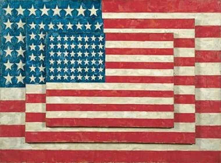 Jasper Johns, Three Flags, 1958 © Jasper Johns (Fair Use)