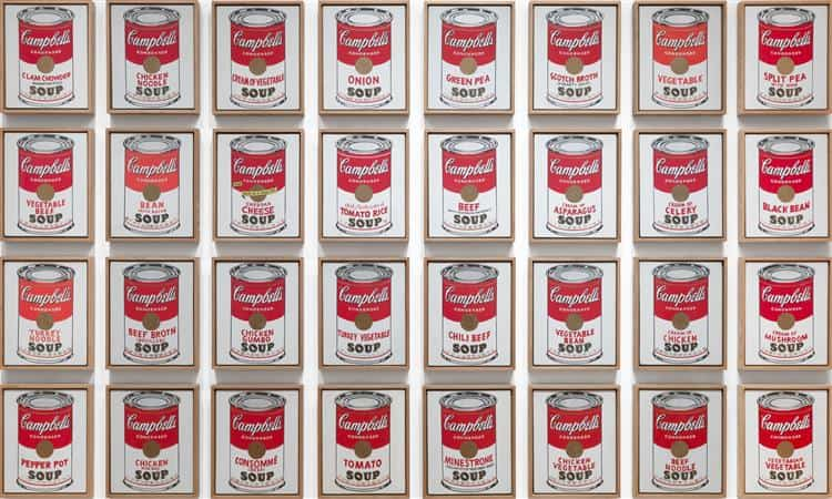 Andy Warhol, Campbell's Soup Cans, 1962.  Museum of Modern Art, New York. Image via WikiArt