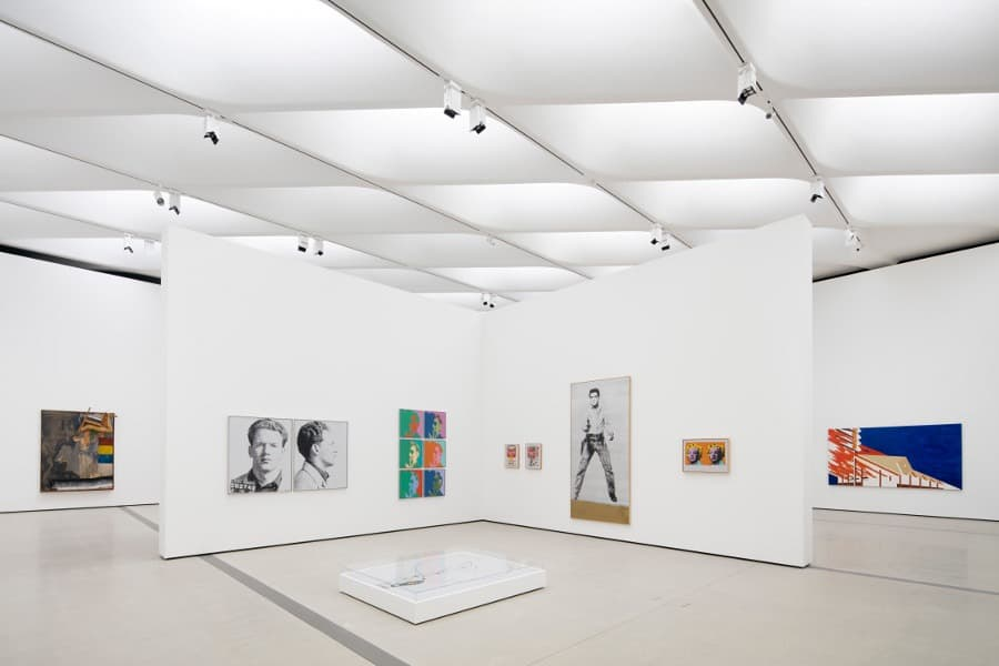 Installation view of works by Robert Rauschenberg, Andy Warhol, and Ed Ruscha in The Broad's third-floor galleries. Photo by Bruce Damonte. Courtesy of The Broad.