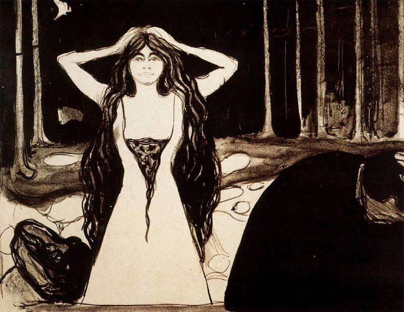 """Edvard Munch, Ashes II, Lithograph with watercolor additions, 13 15/16 x 18"""" (35.4 x 45.7 cm) 1896."""