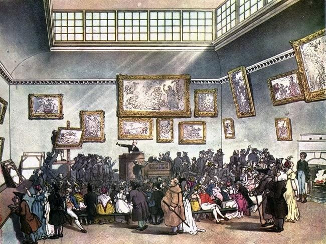Auction room, Christie's, circa 1808.