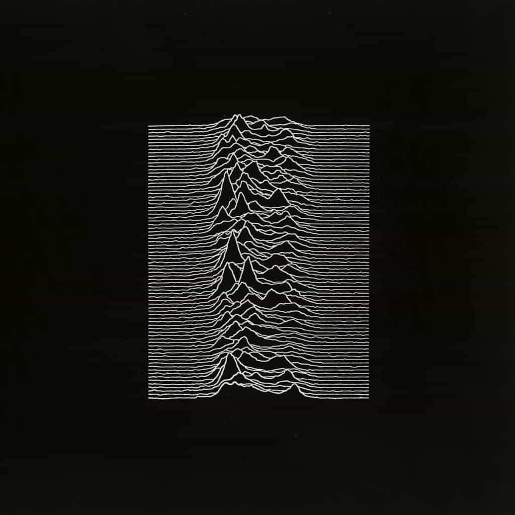 Iconic album cover of Unknown Pleasures, the debut studio album by Joy Division, released in 1979. Courtesy of Factory Records.