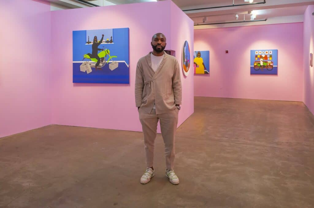 At the GR Gallery during the 'Safe Space' exhibition. Courtesy of the artist.