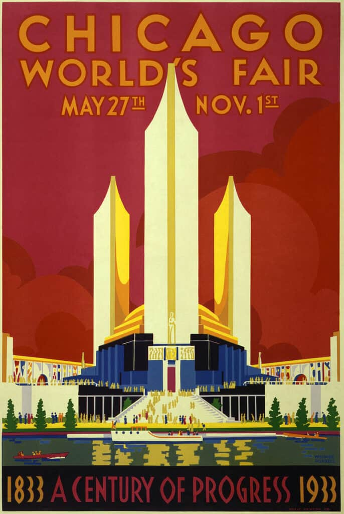 Poster for Chicago Century of Progress World Fair, Weimer Pursell, silkscreen print by Neely Printing Co., Chicago