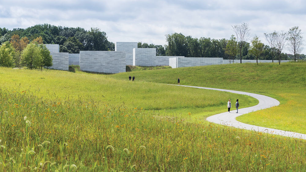 Artfully composed approach to Glenstone, Photo by Iwan Baan. Courtesy of Glenstone.