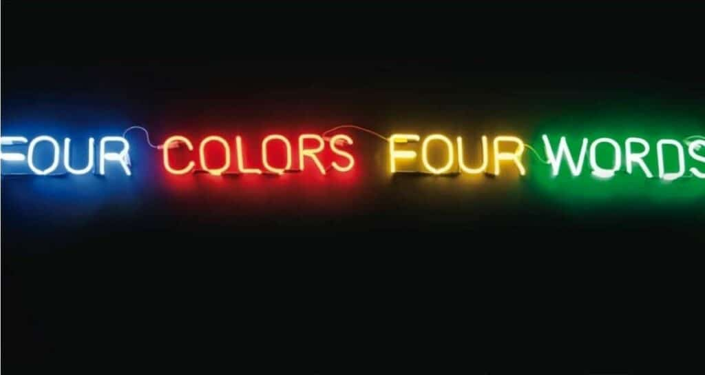 Joseph Kosuth, Four Colours Four Words (Blue, Red, Yellow, Green), 1966. Photo courtesy of Widewalls