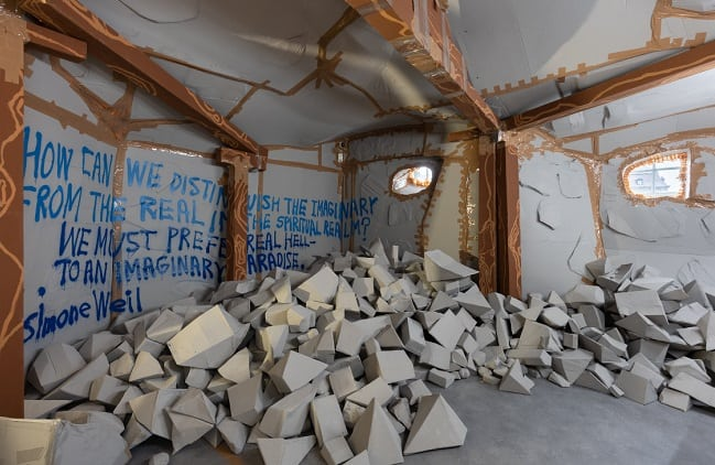 Installation view of Thomas Hirschhorn's Community of Fragments at Kunstforeningen GL STRAND, 2021.