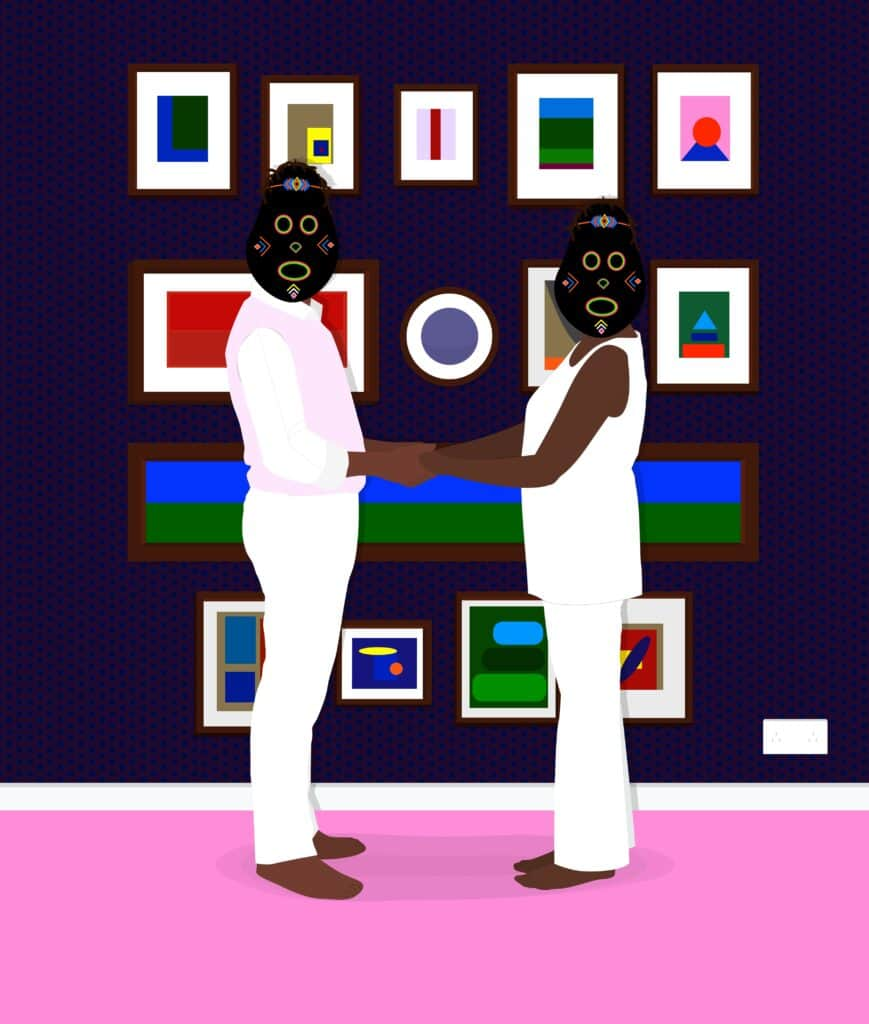 Dennis Osadebe, Collectors, 2021. 23 x 27.11 inches. Archival pigment ink and acrylic on canvas.