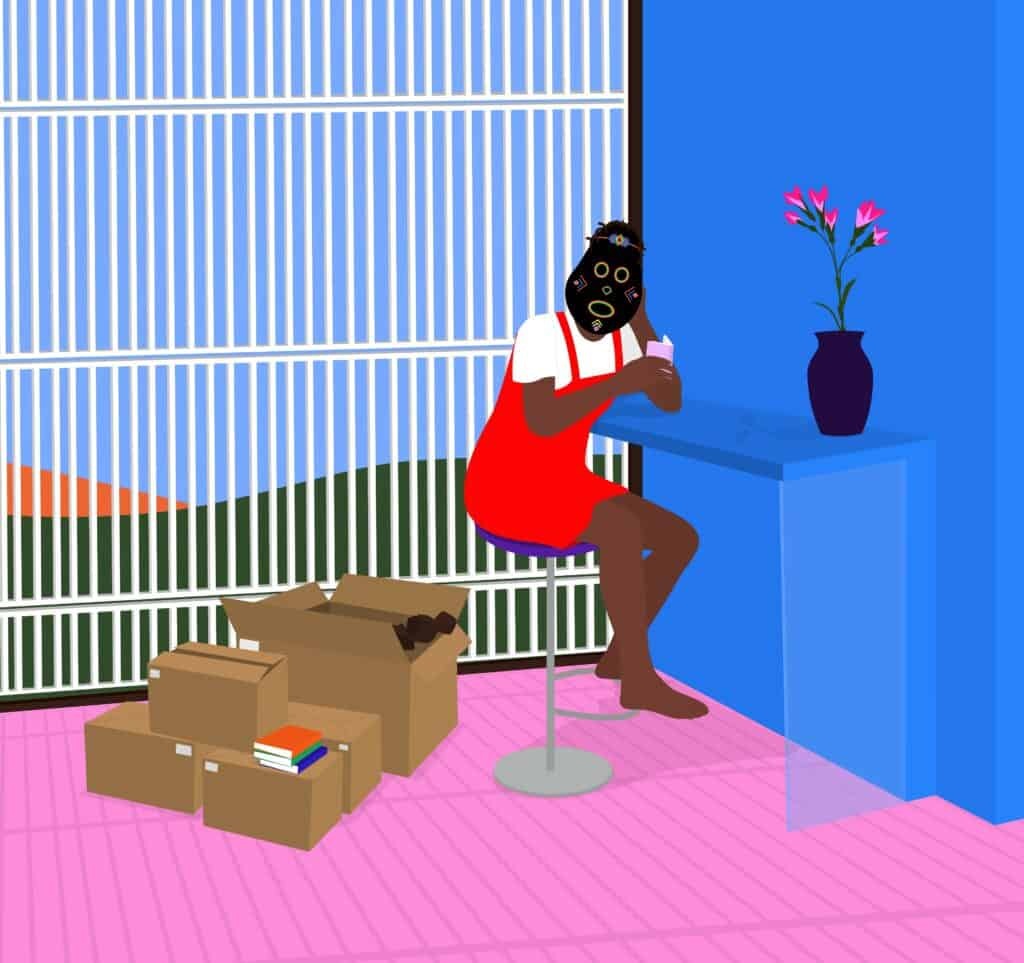 Dennis Osadebe, Isolation, 2021. 25 x 23.51 inches. Archival pigment ink and acrylic on canvas.