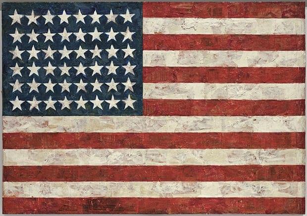Jasper Johns, Flag, oil paint on canvas, 1954-1955. artists destroyed