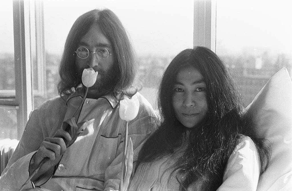 John Lennon and Yoko Ono, Bed-In at Hilton Amsterdam during their honeymoon, 1969. Photo: Eric Koch, Anefo Reportage