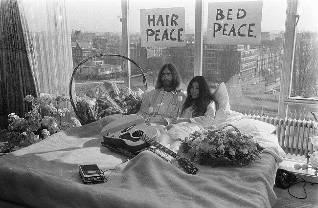 John Lennon and Yoko Ono at the first day of their Amsterdam bed-in