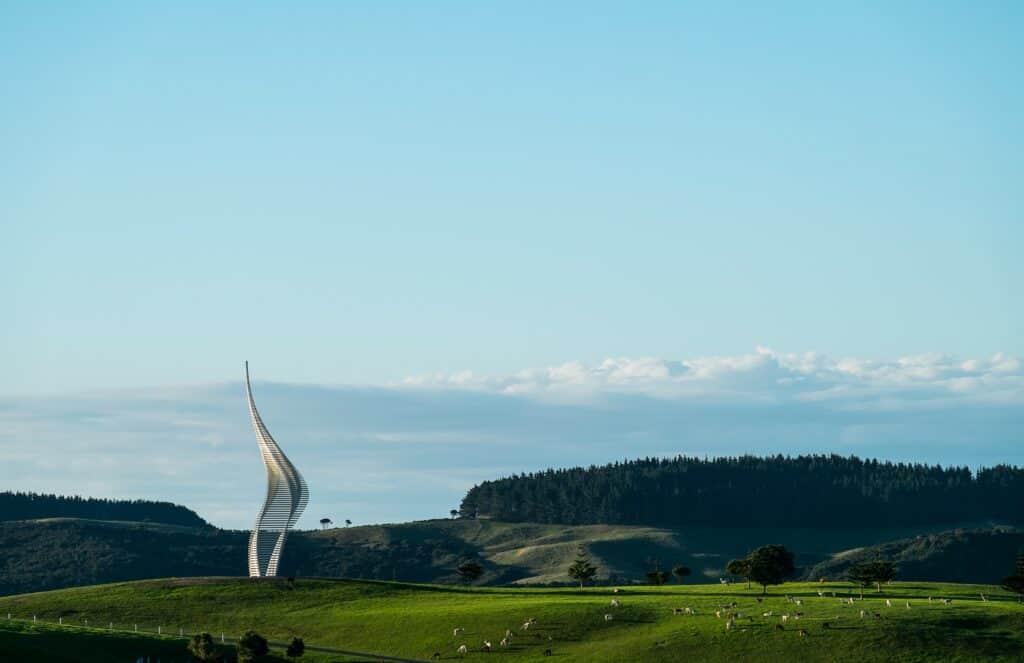Gerry Judah, JACOB'S LADDER, 2018. Gibbs Farm Sculpture Park, New Zealand.
