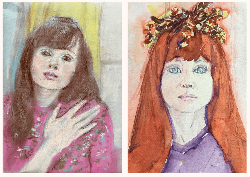 Renée Stotijn, Self-Portrait Renée in Pink and Portrait of Marion Stotijn. Courtesy Zaphira and Esmee Bor