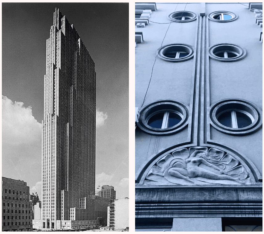30 Rockefeller Plaza, NY, 1933, by Raymond Hood and relief on an Art Deco building in Belgrade, Serbia, photo: Shira Wolfe