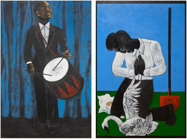 Abe Odedina, Farewell, 2020; and  The Party's Over, 2018. Nigerian Artists