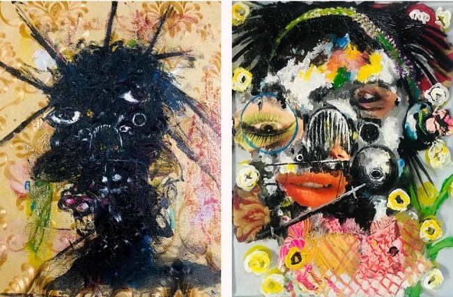 Sejiro Avoseh, I go Chop you Before I die, 2020; and Imaginative Portrait 8 (Glass series), 2021. Nigerian artists