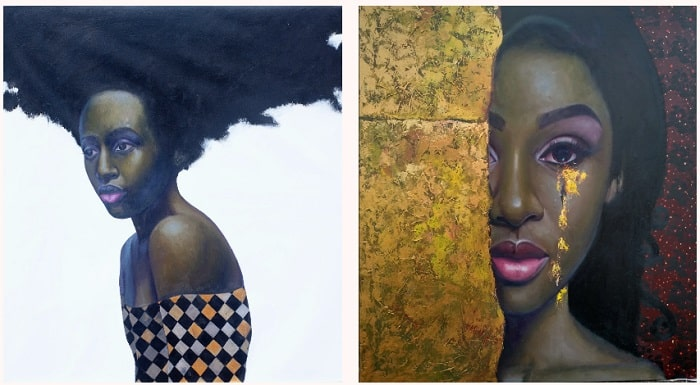 Oluwole Omofemi, Root I, 2019; and Ariyike Golden Tear, 2019. Nigerian artists