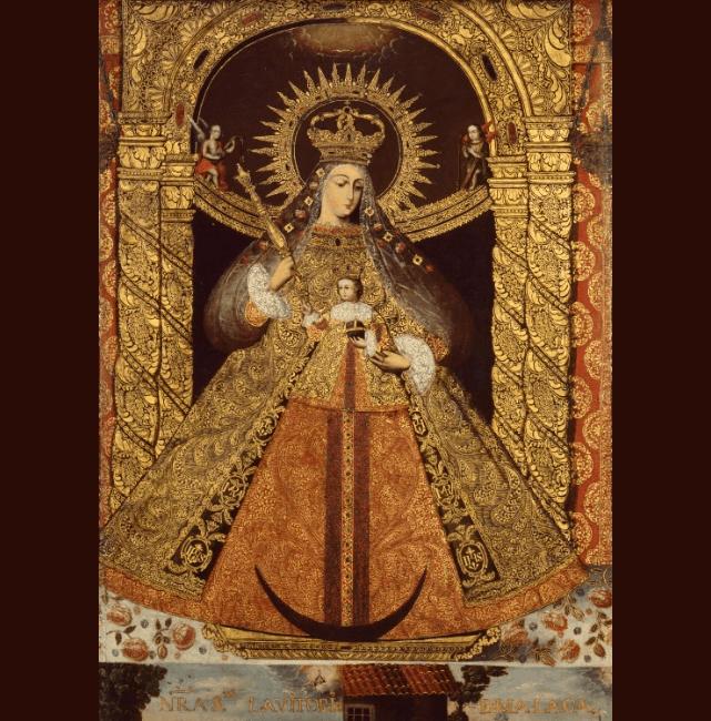 Unknown Bolivian Artist Virgin of the Victory of Málaga (Nuestra Señora de la Victoria de Málaga)  circa 1740. Denver Art Museum. Latin American Art