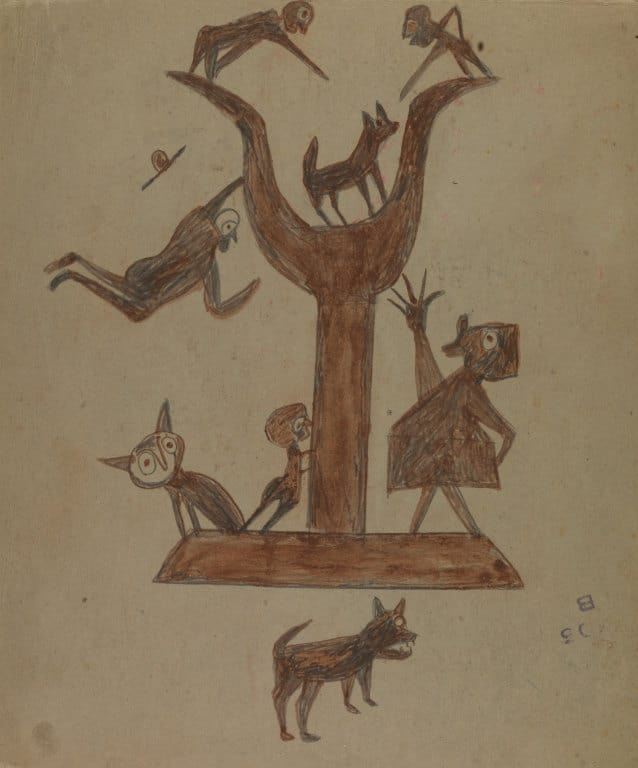 Bill Traylor, Untitled (Construction with Yawping Woman), ca. 1939-1942. © 1994, Bill Traylor Family Trust