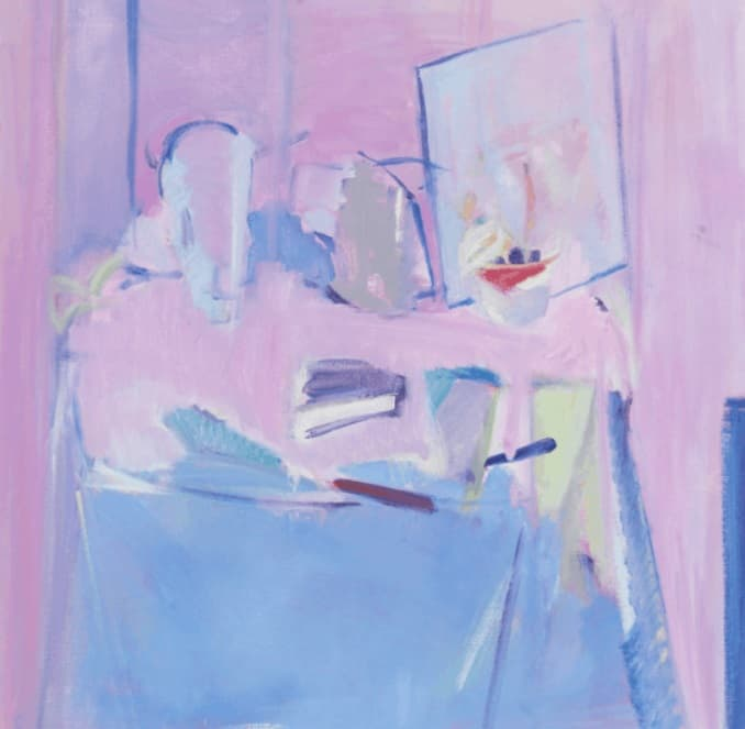 Rose Hilton, Blue Still Life. © Rose Hilton, courtesy Messum's Fine Art