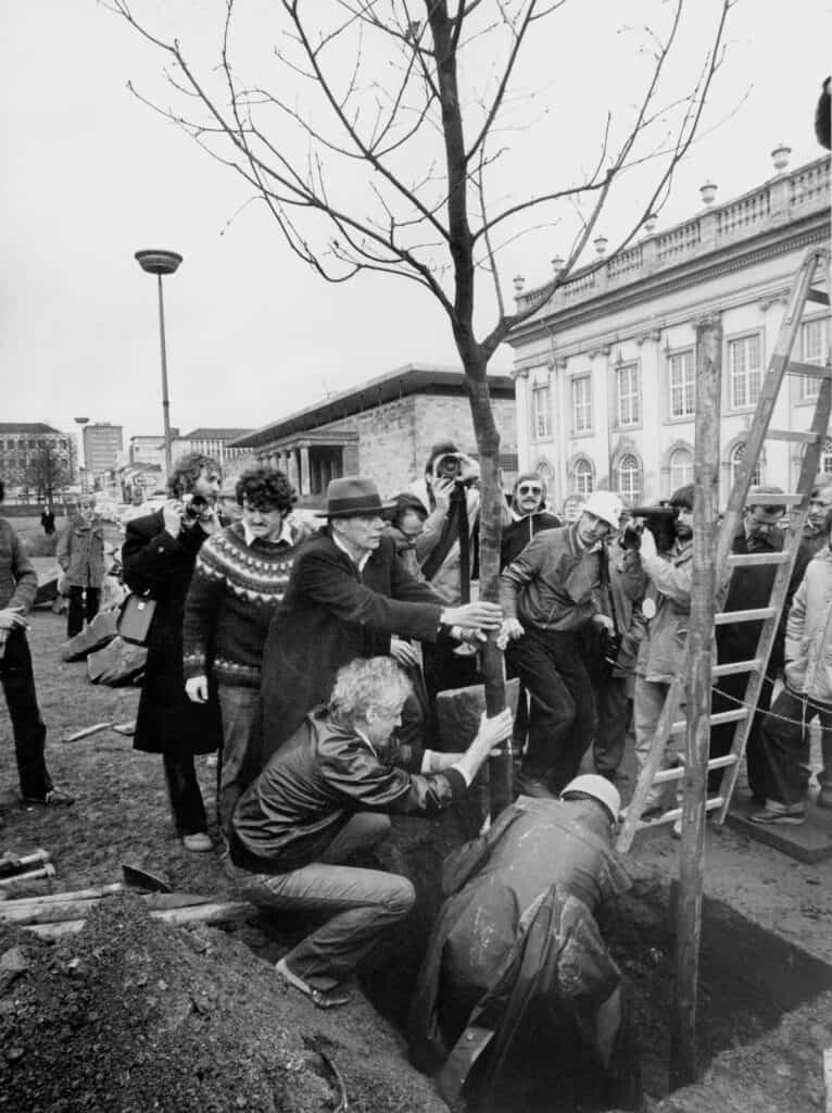 7000 Oaks at documenta 7 in Kassel, 16 March 1982. Photo: Dieter Schwerdtle © Documenta Archiv, Joseph Beuys and VG Bild-Kunst, Bonn 2021. Courtesy of Beuys2021.