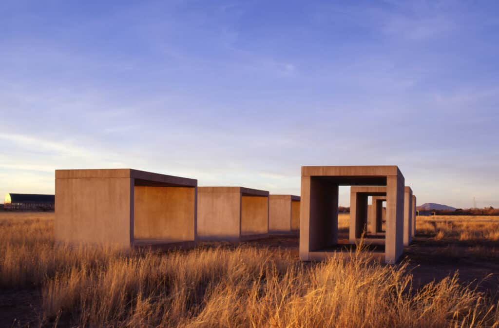Donald Judd, 15 untitled works in concrete, 1980-1984. Permanent collection, the Chinati Foundation, Marfa, Texas. Photo by Florian Holzherr. Donald Judd Art © 2020 Judd Foundation / Artists Rights Society (ARS), New York. Remote art installations.
