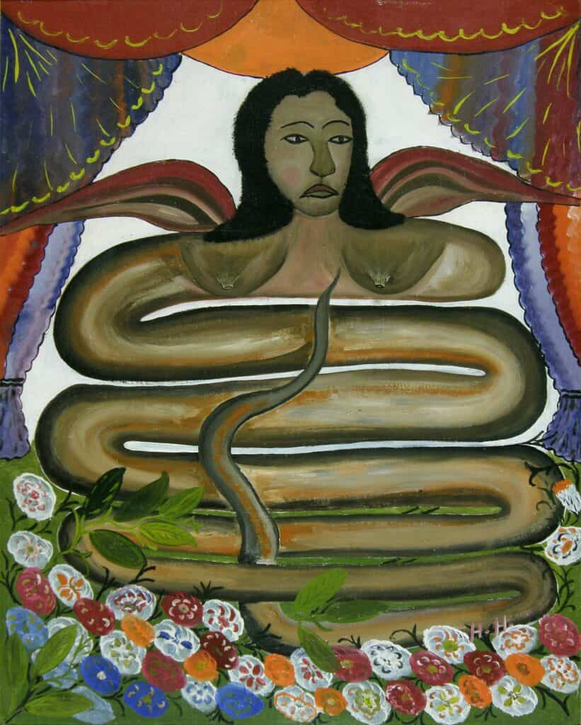 A painting of the vodou entity Damballa, by Haitian artist Hector Hyppolite