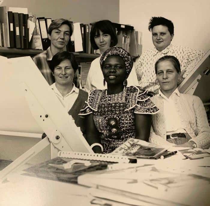 Matrix members, 1990s; the women sought to rethink assumptions behind conventional design, who it is for and the unequal relationships it can perpetuate © Jenny Burgen. Image courtesy by Matrix Feminist Design Co-operative.