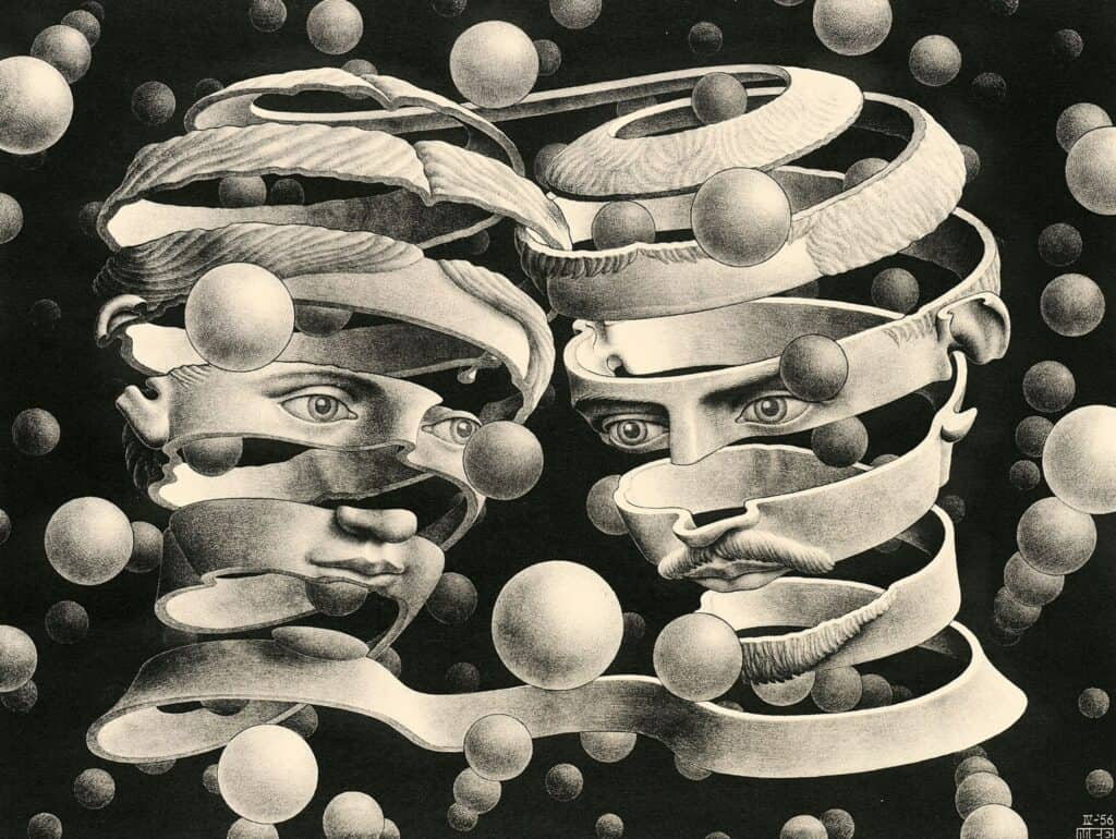 M. C. Escher Bond of union April 1956 lithograph Escher Collection, Gemeentemuseum Den Haag, The Hague, the Netherlands © The M. C. Escher Company, the Netherlands