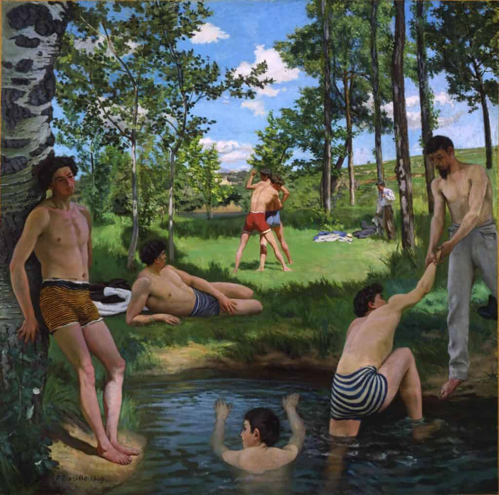 Jean Frédéric Bazille, Scène d'été, Summer Scene, 1869. Oil on canvas. Courtesy Fogg Art Museum, Cambridge, Massachusetts.