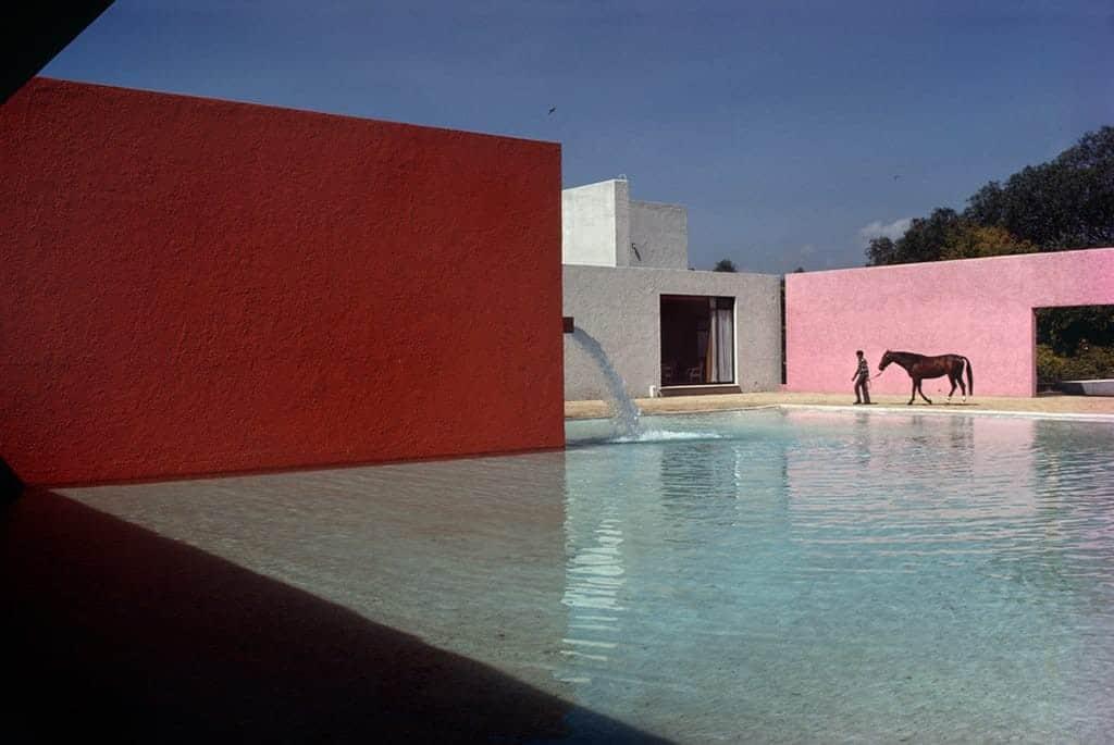 René Burri, Stable and Pool, Building by Luis Barragan and Andres Casillas, Mexico City 1976 ©René Burri/Magnum Photos Analogue C-Print.