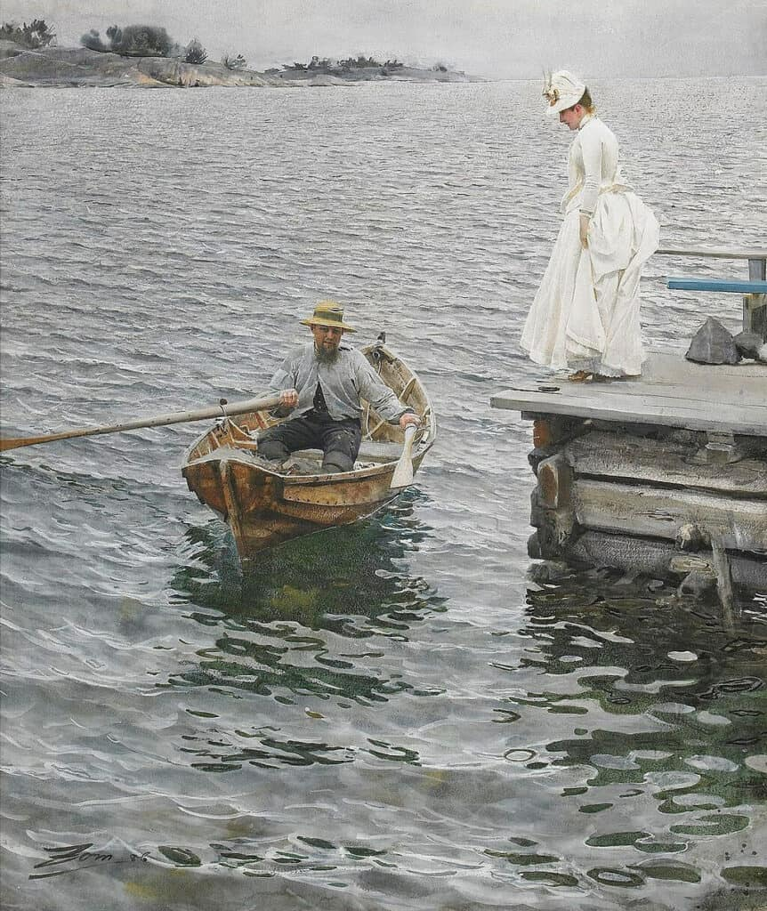 """""""Your boat looked bigger in your profile picture"""" inspired by Anders Zorn, Sommarnöje, 1886"""