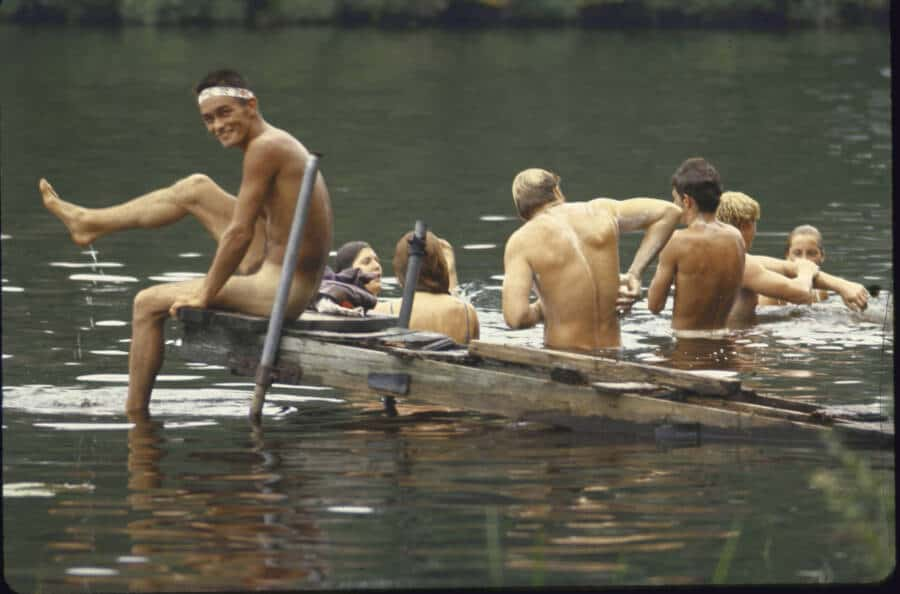 Between sets, music fans skinny dipped at nearby docks during Woodstock, one of the most iconic music festivals (Photo by Bill Eppridge/The LIFE Picture Collection/Getty Images)