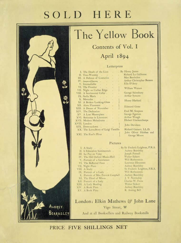 Promotional card for 'The Yellow Book', design by Aubrey Beardsley, published by Elkin Mathews and John Lane, London, 1894. © Victoria and Albert Museum, London