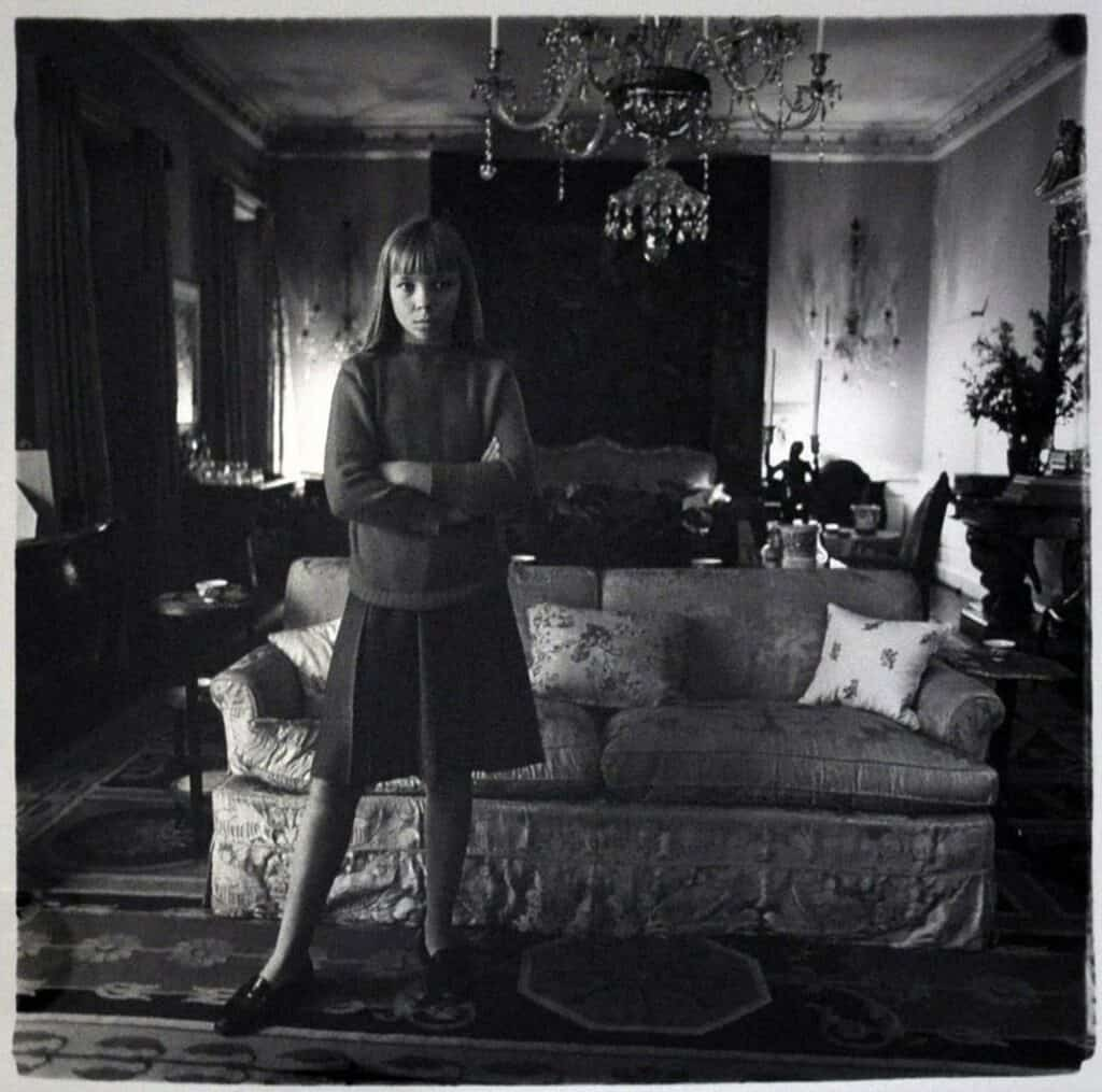 Diane Arbus, Penelope Tree in her living room, New York, 1962. Available for purchase on Artland.