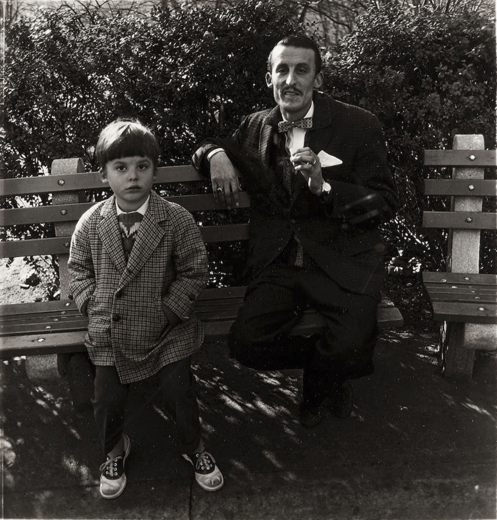 Diane Arbus, Man and a boy on a bench in Central Park, New York City. 1962. Available for purchase on Artland.