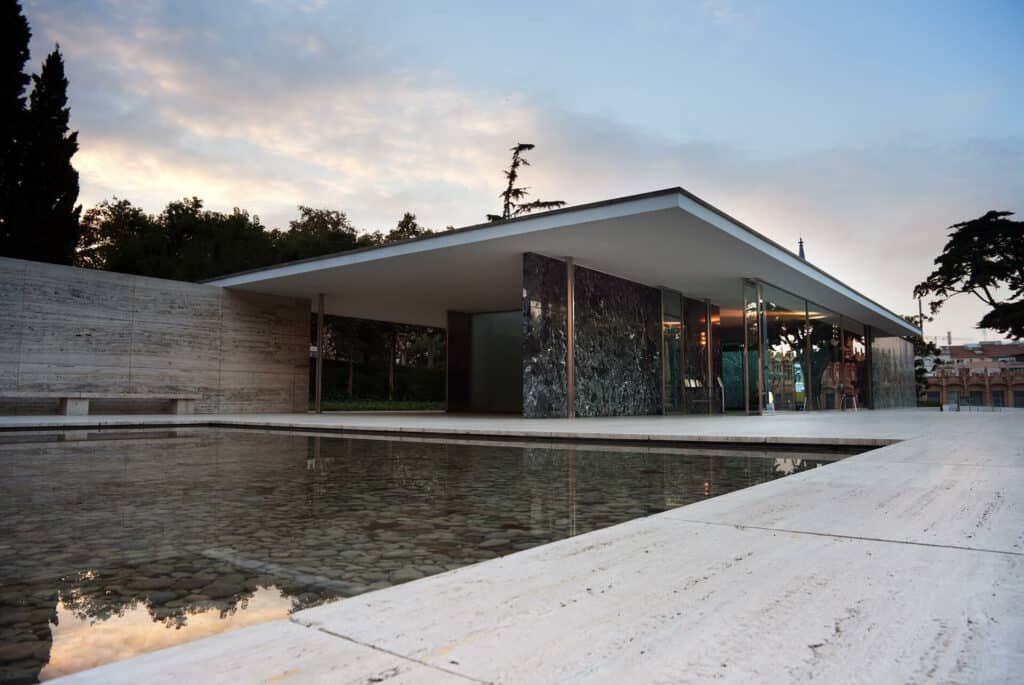 Ludwig Mies van der Rohe with Lilly Reich, Barcelona Pavilion (reconstruction), Barcelona, 1929/1986. Image Credit: Ashley Pomeroy, CC BY 3.0.