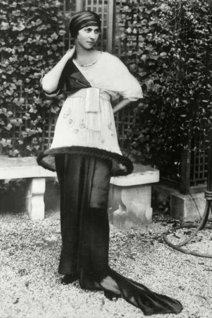 Denise Poiret wearing a lampshade dress