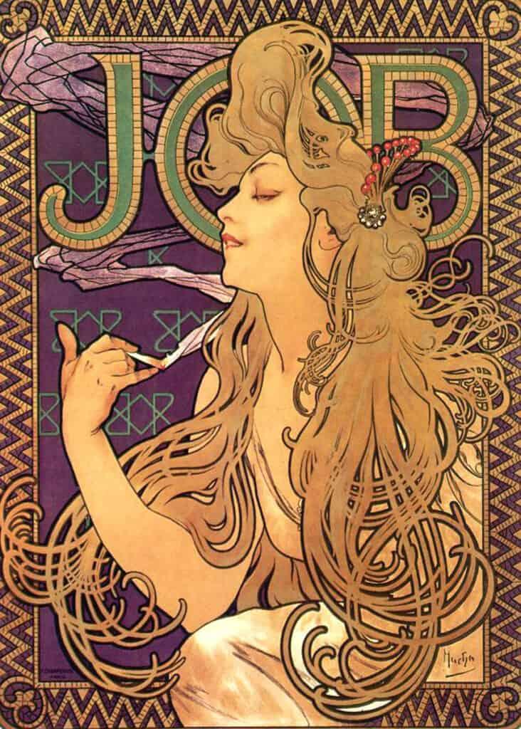 Alphonse Mucha JOB cigarette papers, advertisements, 1896