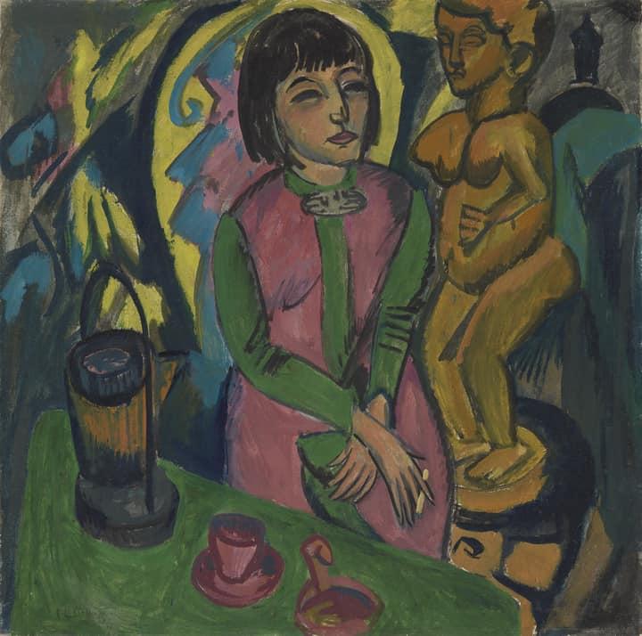 national galleries.Ernst Ludwig Kirchner, Sitzende Frau mit Holzplastik,