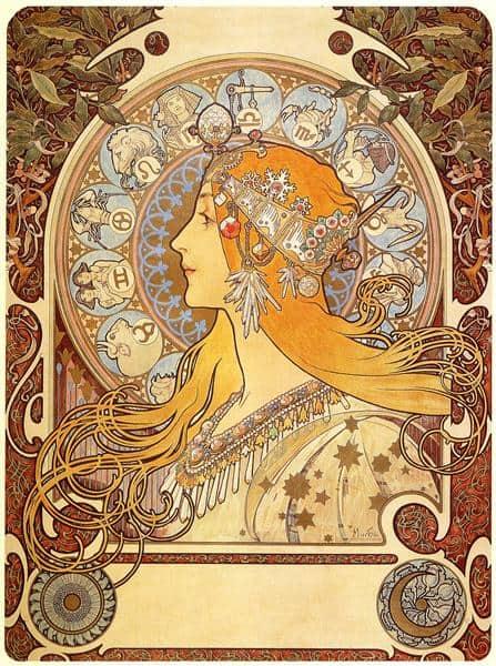 Alphonse Mucha, Zodiac, 1896.